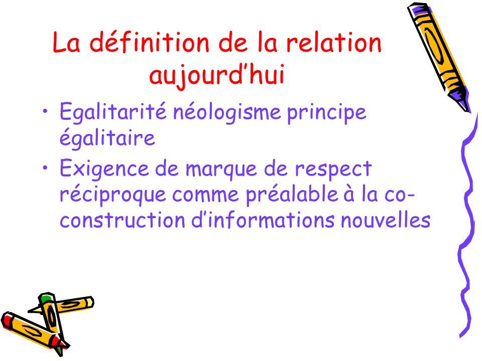 La définition de la relation aujourd'hui