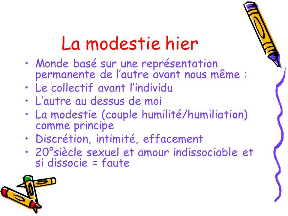 La modestie hier Monde basé sur une représentation permanente de l'autre avant nous même : Le collectif avant l'individu.