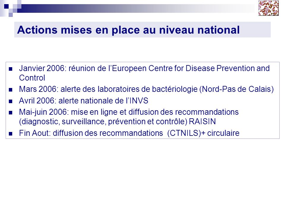 Actions mises en place au niveau national