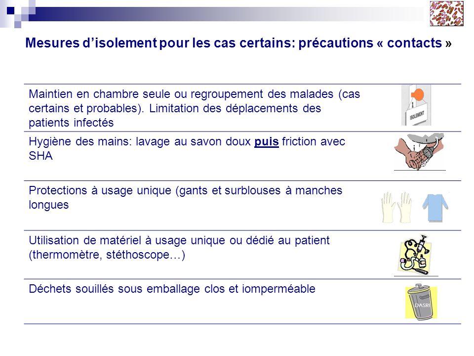 Mesures d'isolement pour les cas certains: précautions « contacts »
