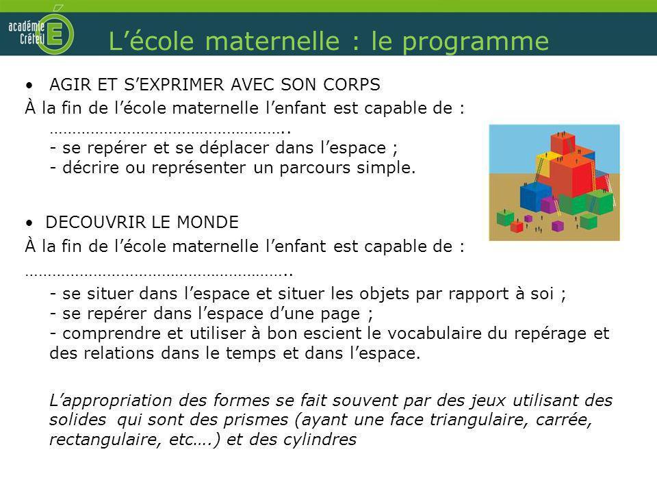 L'école maternelle : le programme