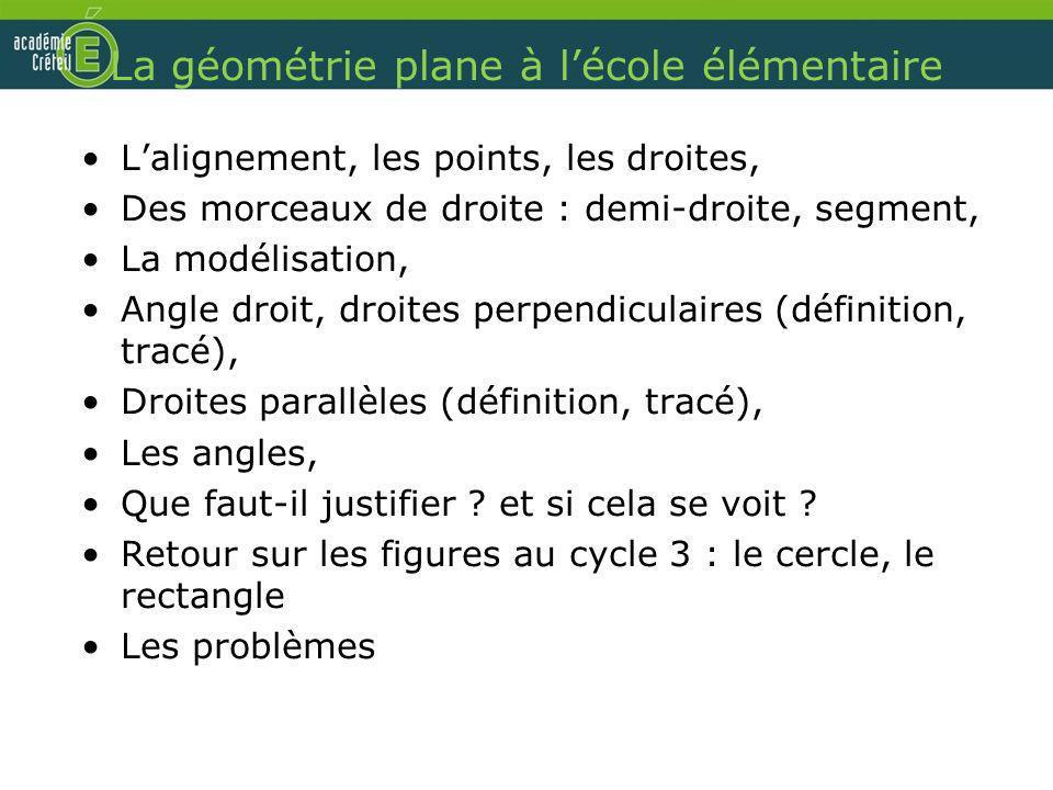 La géométrie plane à l'école élémentaire