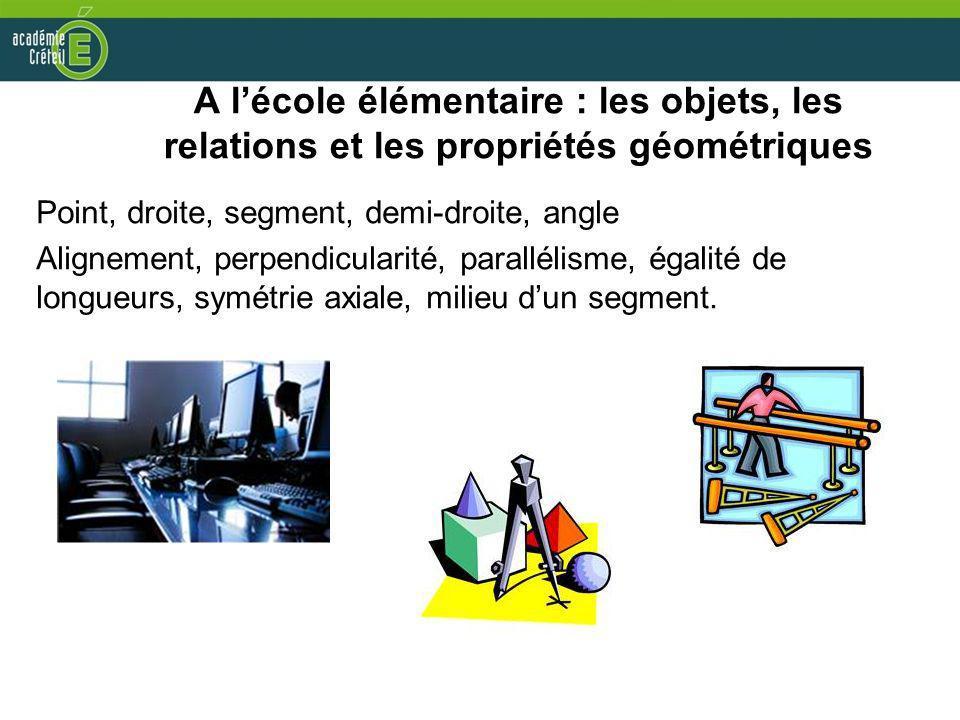 A l'école élémentaire : les objets, les relations et les propriétés géométriques