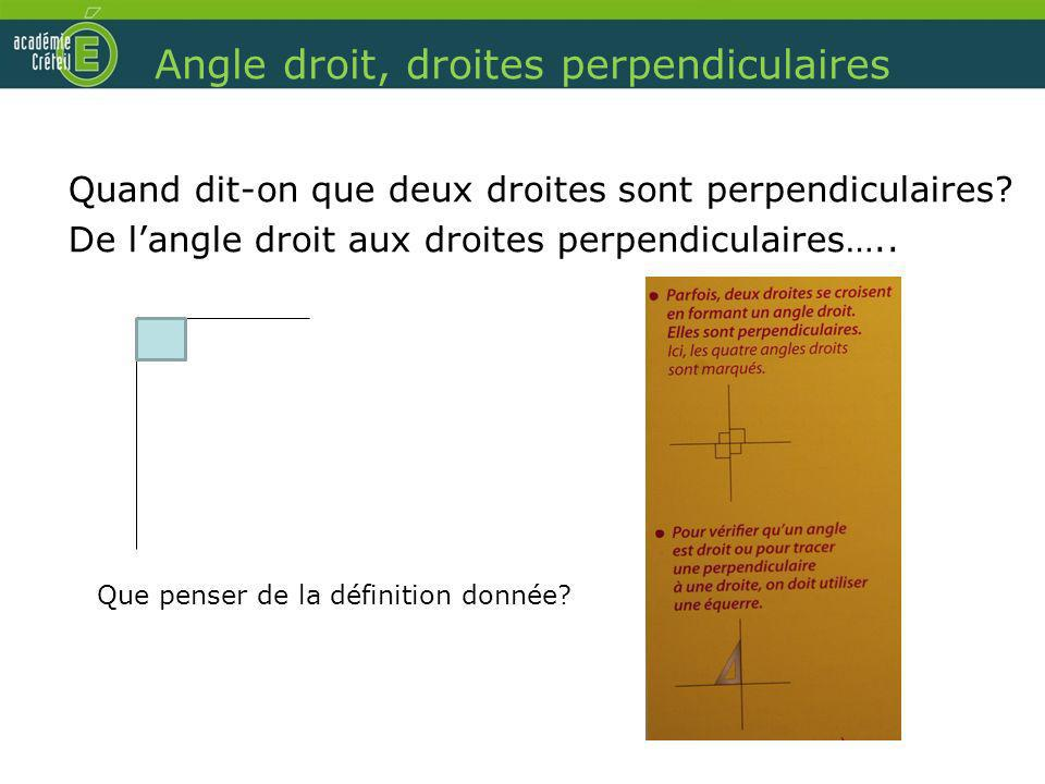 Angle droit, droites perpendiculaires