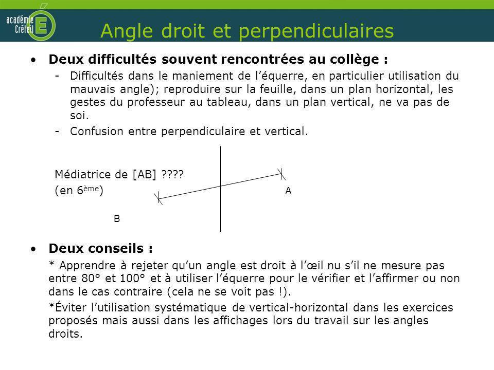 Angle droit et perpendiculaires