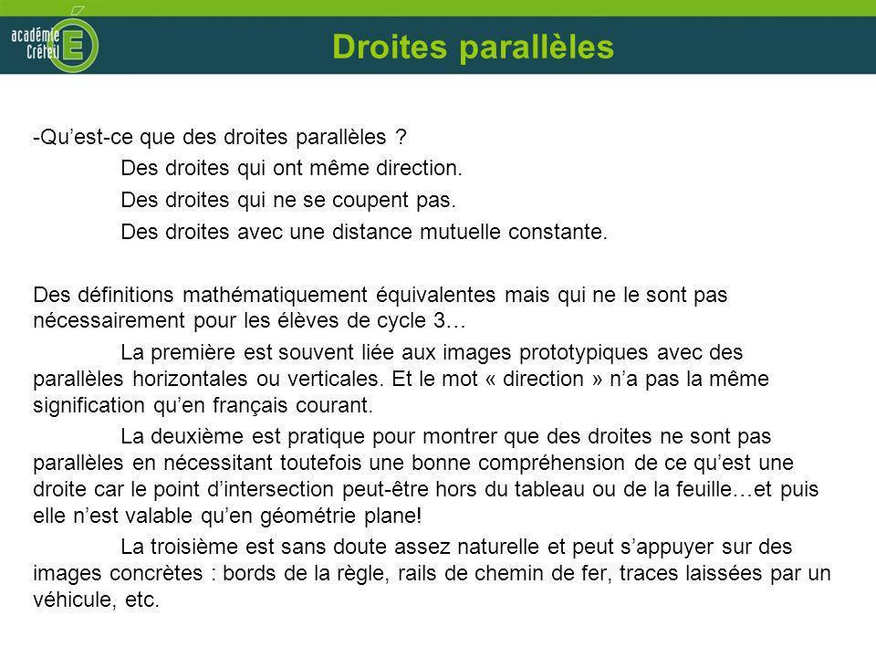 Droites parallèles Qu'est-ce que des droites parallèles
