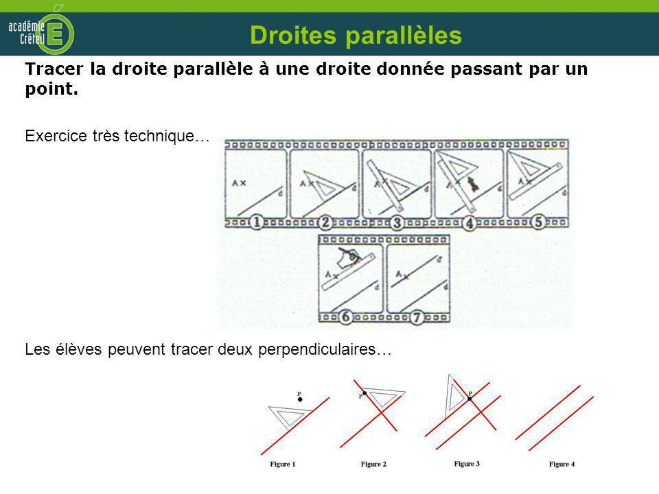 Droites parallèles Tracer la droite parallèle à une droite donnée passant par un point. Exercice très technique…