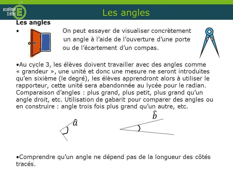 Les angles Les angles On peut essayer de visualiser concrètement