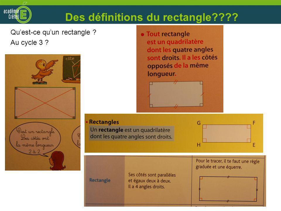 Des définitions du rectangle