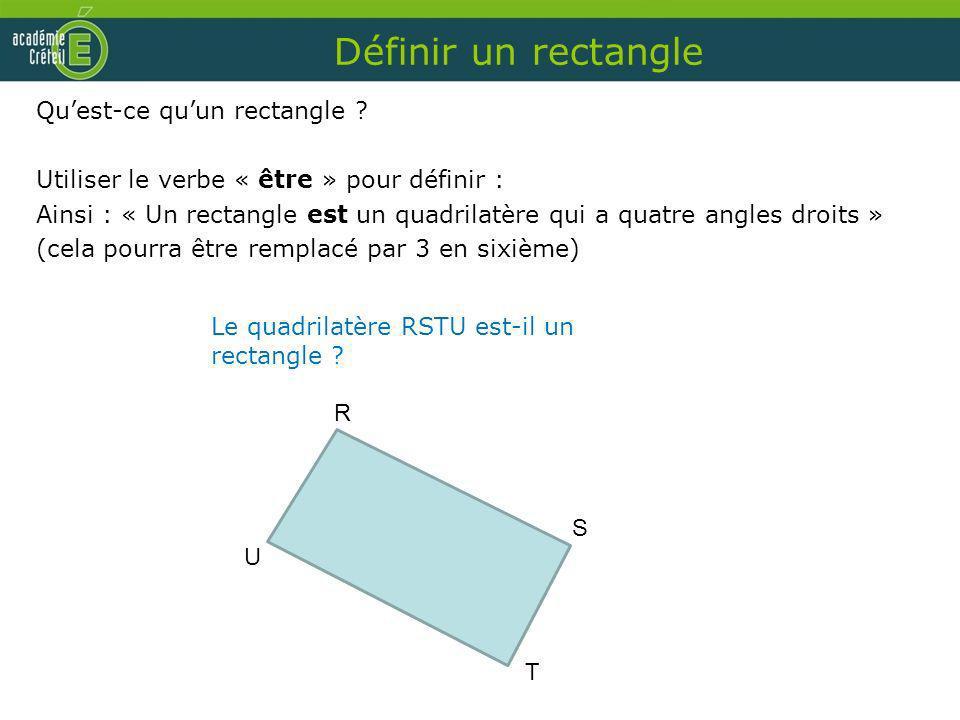 Définir un rectangle Qu'est-ce qu'un rectangle