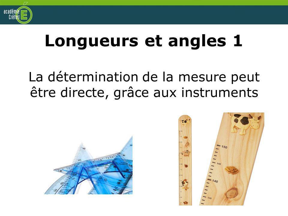 Longueurs et angles 1 La détermination de la mesure peut être directe, grâce aux instruments