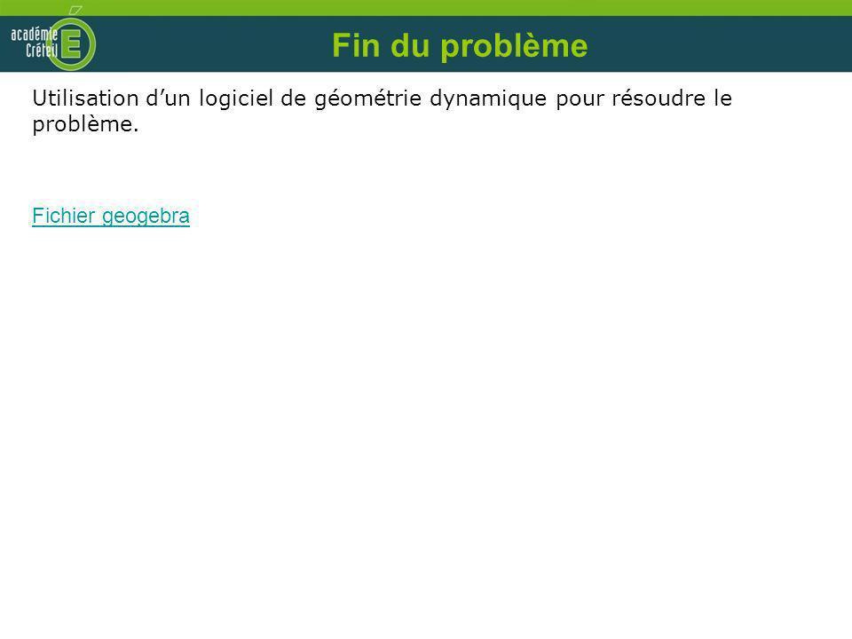 Fin du problème Utilisation d'un logiciel de géométrie dynamique pour résoudre le problème.