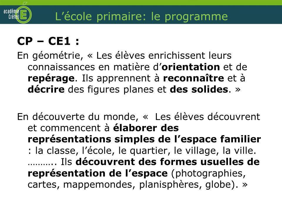 L'école primaire: le programme