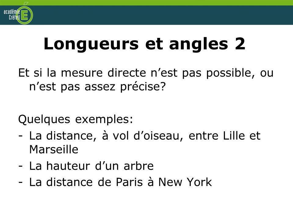 Longueurs et angles 2 Et si la mesure directe n'est pas possible, ou n'est pas assez précise Quelques exemples:
