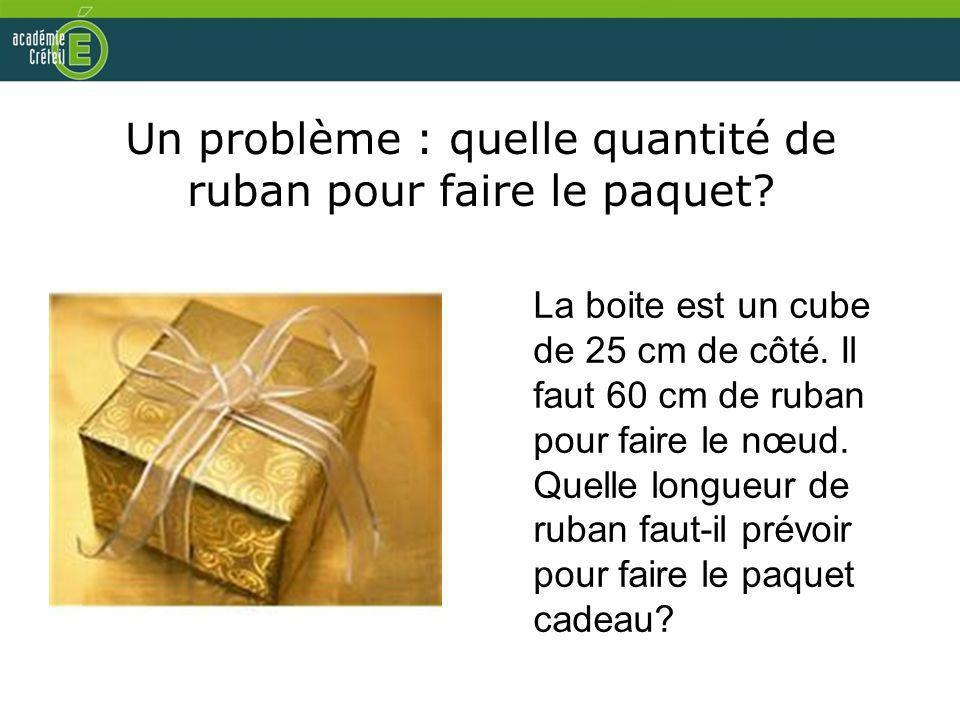 Un problème : quelle quantité de ruban pour faire le paquet