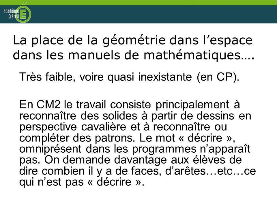 La place de la géométrie dans l'espace dans les manuels de mathématiques….