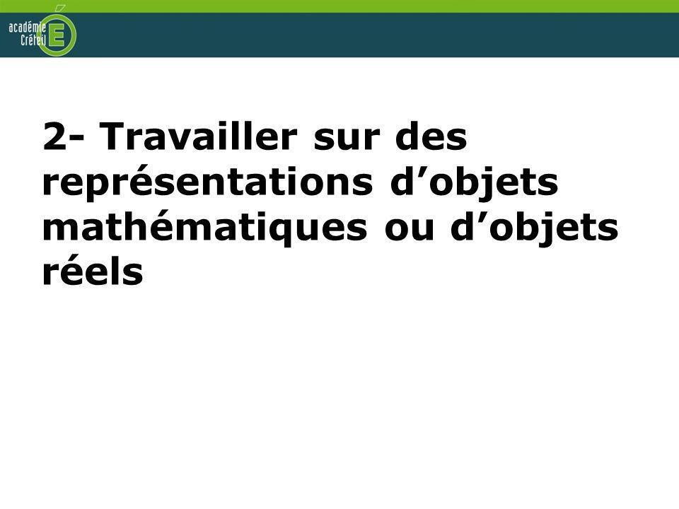 2- Travailler sur des représentations d'objets mathématiques ou d'objets réels