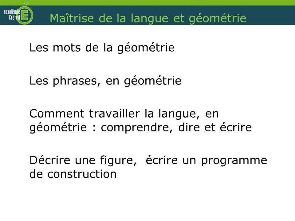 Maîtrise de la langue et géométrie