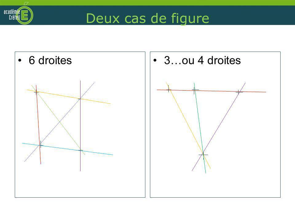 Deux cas de figure 6 droites 3…ou 4 droites