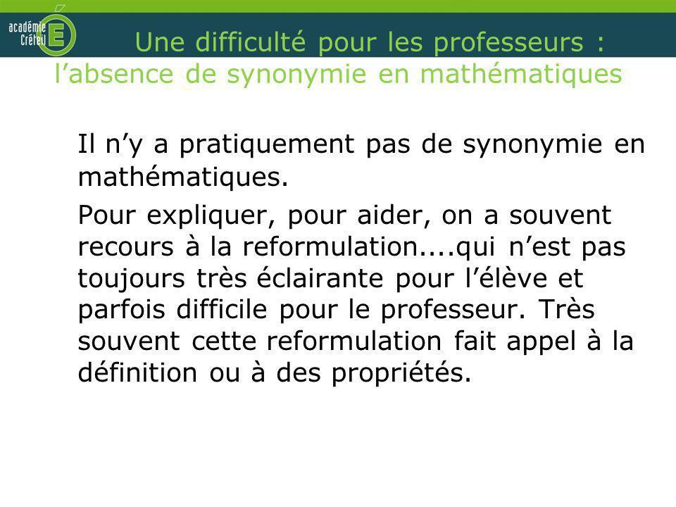 Il n'y a pratiquement pas de synonymie en mathématiques.