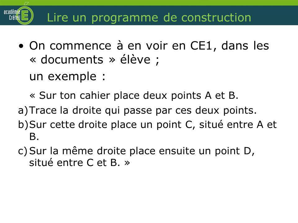 Lire un programme de construction