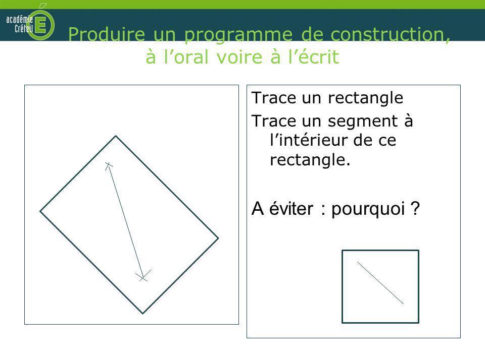 Produire un programme de construction, à l'oral voire à l'écrit