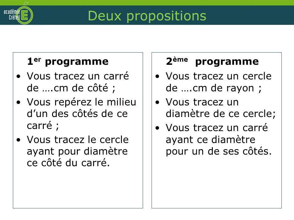Deux propositions 1er programme 2ème programme