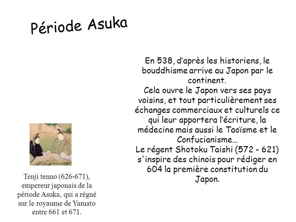 Période Asuka En 538, d'après les historiens, le bouddhisme arrive au Japon par le continent.