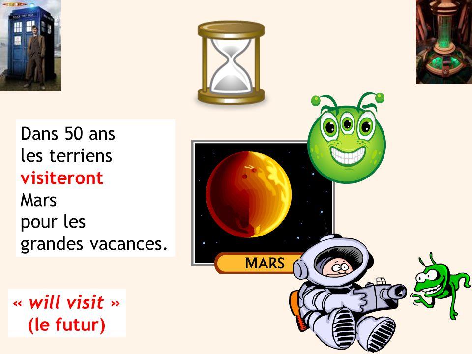 Dans 50 ans les terriens visiteront Mars pour les grandes vacances. « will visit » (le futur)