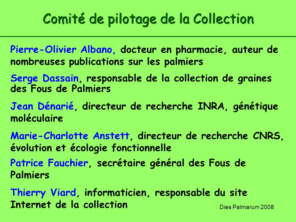 Comité de pilotage de la Collection