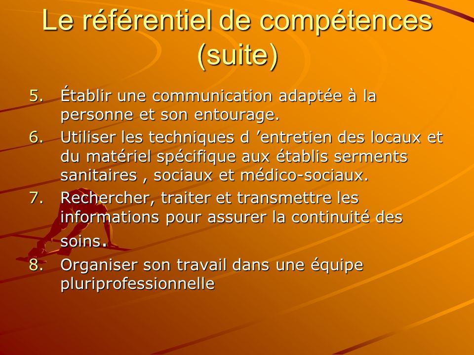 Le référentiel de compétences (suite)