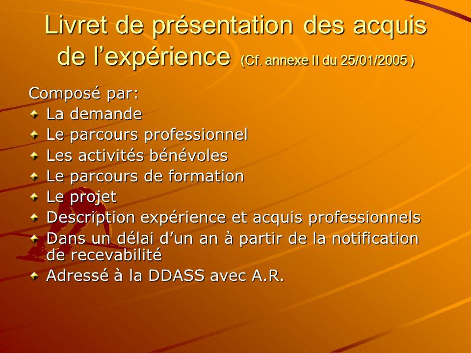 Livret de présentation des acquis de l'expérience (Cf
