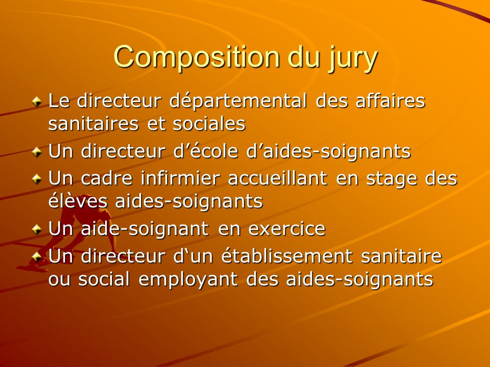 Composition du jury Le directeur départemental des affaires sanitaires et sociales. Un directeur d'école d'aides-soignants.