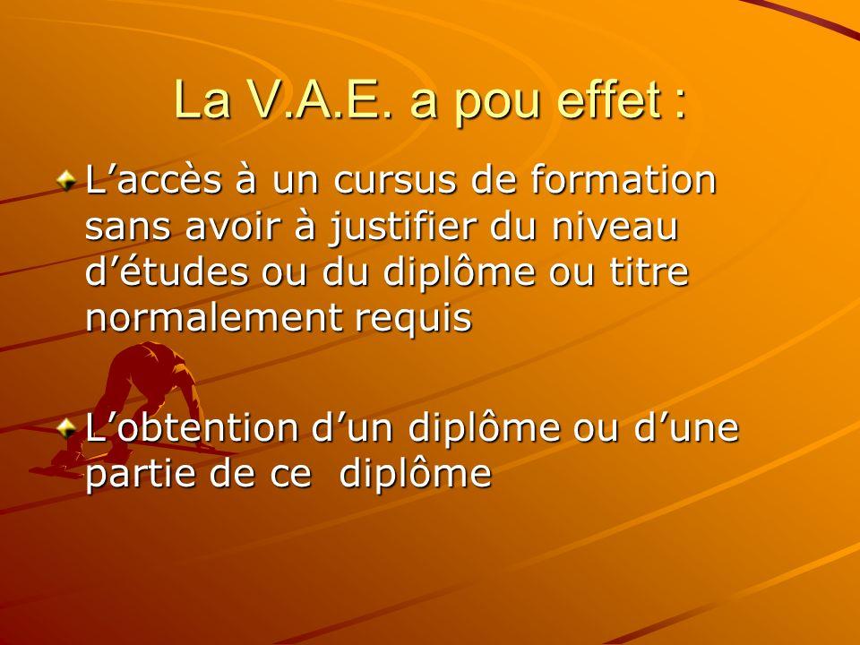 La V.A.E. a pou effet : L'accès à un cursus de formation sans avoir à justifier du niveau d'études ou du diplôme ou titre normalement requis.