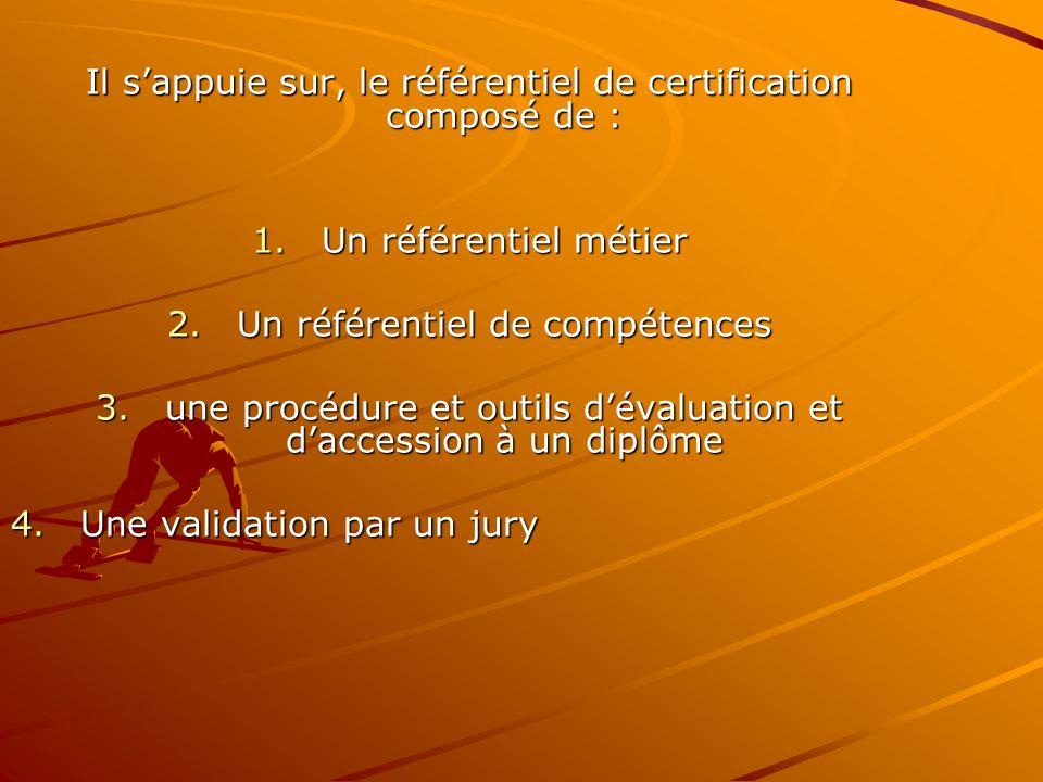Il s'appuie sur, le référentiel de certification composé de :