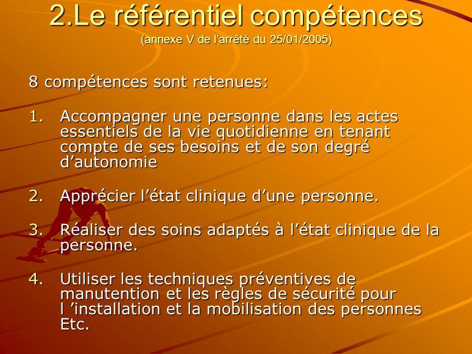 2.Le référentiel compétences (annexe V de l'arrêté du 25/01/2005)