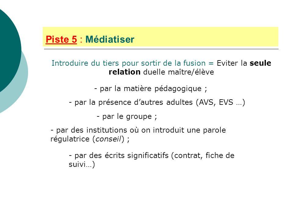 Piste 5 : MédiatiserIntroduire du tiers pour sortir de la fusion = Eviter la seule relation duelle maître/élève.