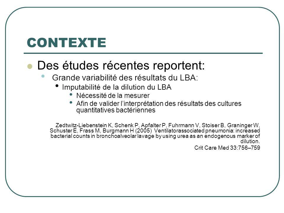 CONTEXTE Des études récentes reportent: