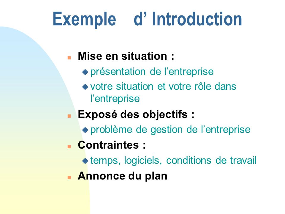 Exemple d' Introduction