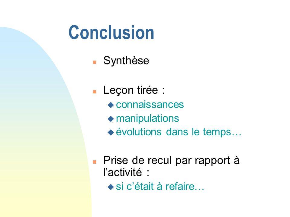 Conclusion Synthèse Leçon tirée :