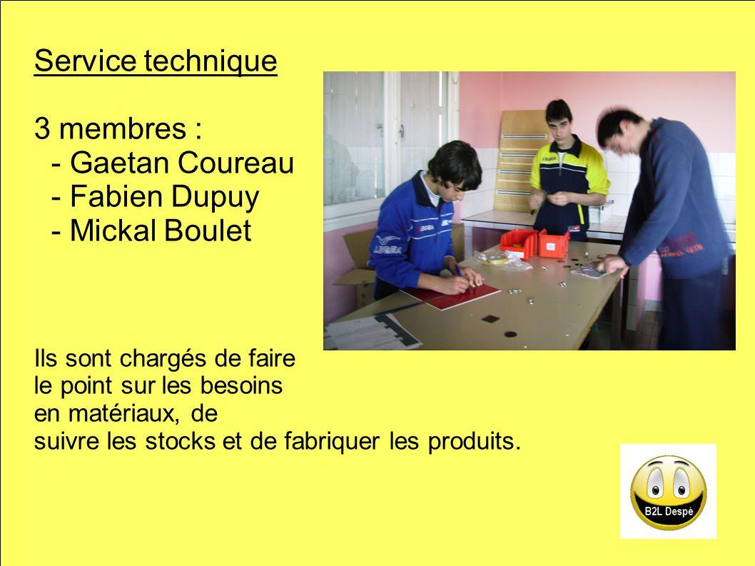 Service technique 3 membres : - Gaetan Coureau - Fabien Dupuy