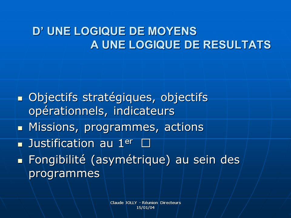 D' UNE LOGIQUE DE MOYENS A UNE LOGIQUE DE RESULTATS