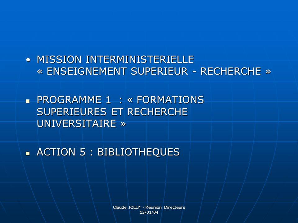Claude JOLLY - Réunion Directeurs 15/01/04