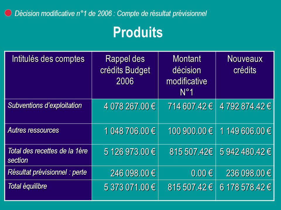 Produits Intitulés des comptes Rappel des crédits Budget 2006