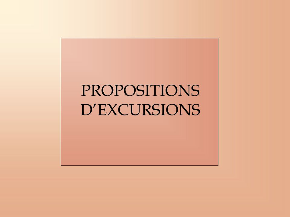 PROPOSITIONS D'EXCURSIONS
