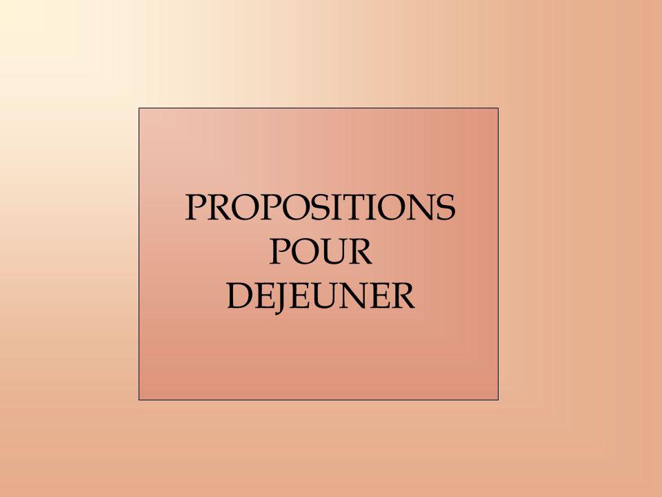 PROPOSITIONS POUR DEJEUNER