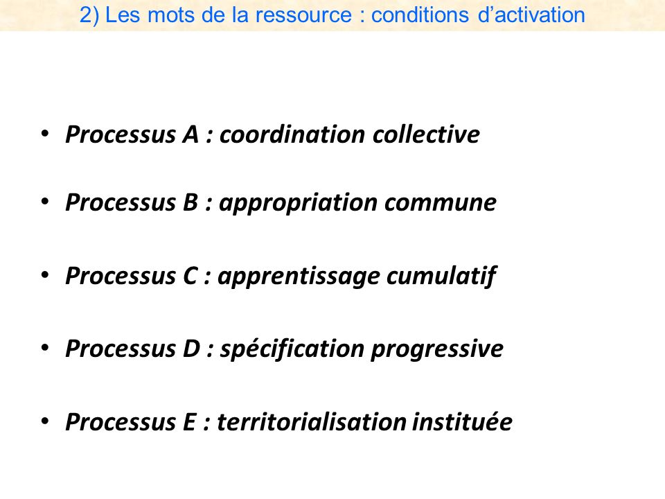 2) Les mots de la ressource : conditions d'activation