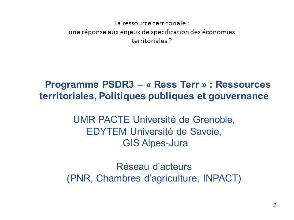 La ressource territoriale : une réponse aux enjeux de spécification des économies territoriales