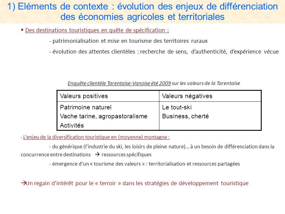 1) Eléments de contexte : évolution des enjeux de différenciation des économies agricoles et territoriales