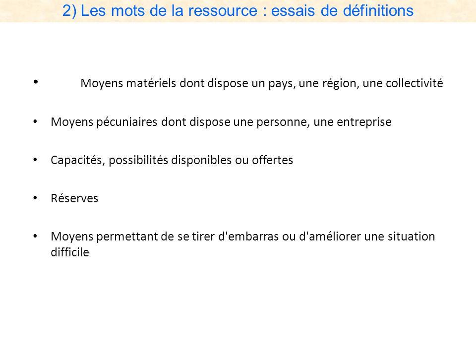 2) Les mots de la ressource : essais de définitions